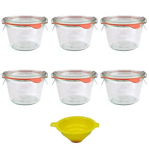 Anillas y Embudo Viva Haushaltswaren 6 tarros de Cristal Redondos Forma 80 ml con Pinzas