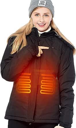 DEWBU Chaqueta Calefactable con 7.4v Batería Eléctrica Chaqueta con calefaccion Acolchada para Mujer