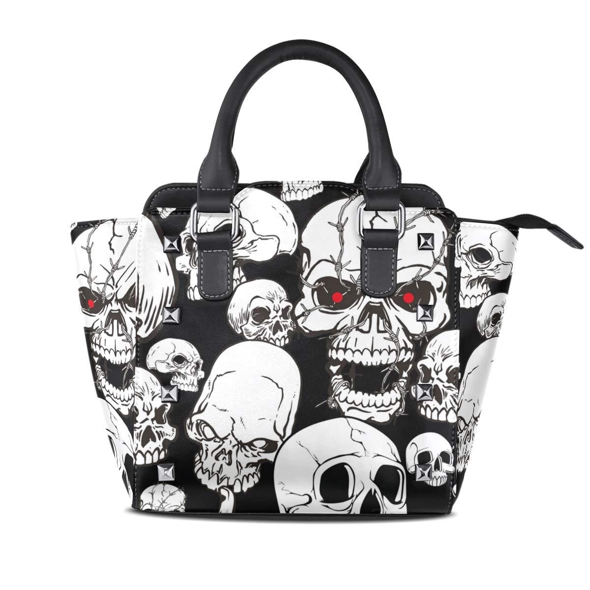 Design3 Handbag Skull Yellow Genuine Leather Tote Rivet Bag Shoulder Strap Top Handle Women