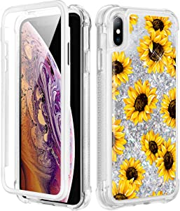Caka iPhone X Case, iPhone X Xs Sunflower Glitter Full Body Case with Built in Screen Protector Women Girls Protective Bling Sparkle Liquid Floral Girly Phone Case for iPhone X Xs (Sunflower)
