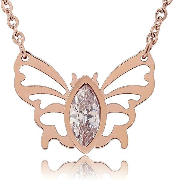 ee2c2039d649 AnaZoz Collar Acero Inoxidable Collar de Mujer Collar Colgante Mariposa  Circonita Blanco Collar Oro Rosa Plata Mujer Collar Mujer