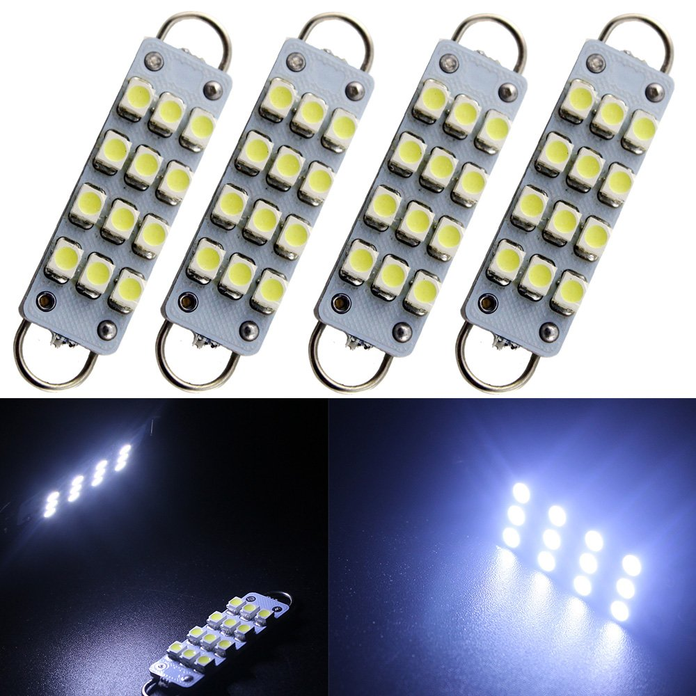 GrandviewTM 4 X 44mm(1.73') 12-SMD 1210 3528 Chip Rigid Loop Festoon LED Bulbs for Car Interior Light Dome Map Light Door Courtesy Lights 561 562 567 (Blue)