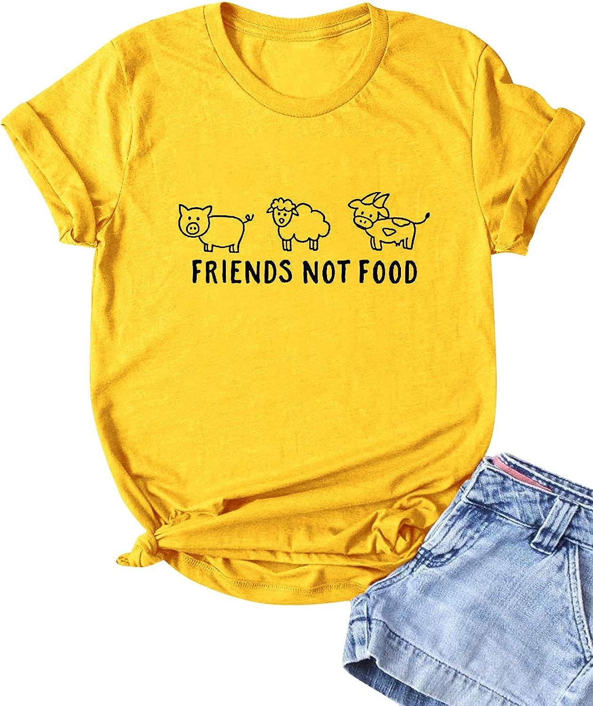 ZJP Women Graphic Short Sleeve Tee Shirt O Neck Friends NOT Food Animals Kindness Shirt for Teen Girls