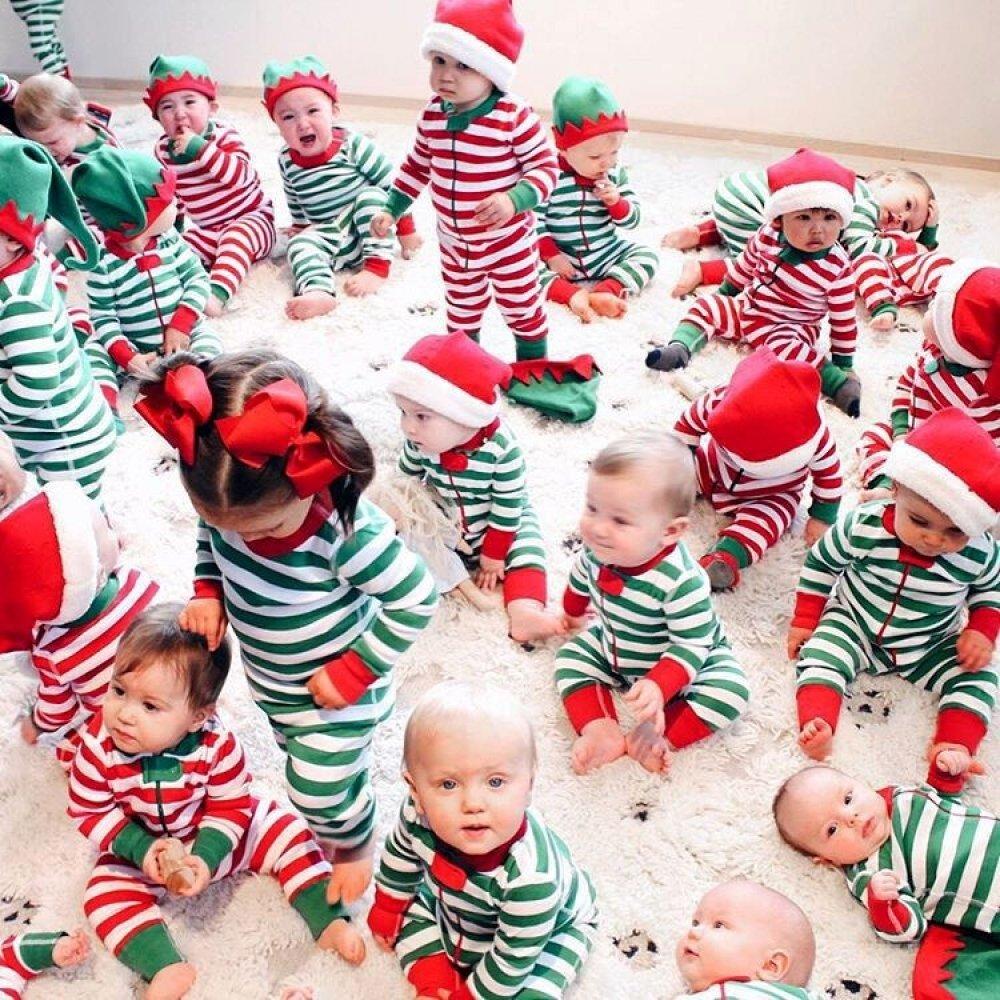 Navidad ropa de bebé Niños Niñas Navidad rayas algodón bebé Pelele pijamas pijama disfraz rojo rosso Talla:7-9 Months: Amazon.es: Bebé