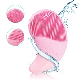 3ec59e06eac75 Sonic Facial Cleansing Brush Electric Silicone Face Brush and Massager  Waterproof Rechargeable Face...