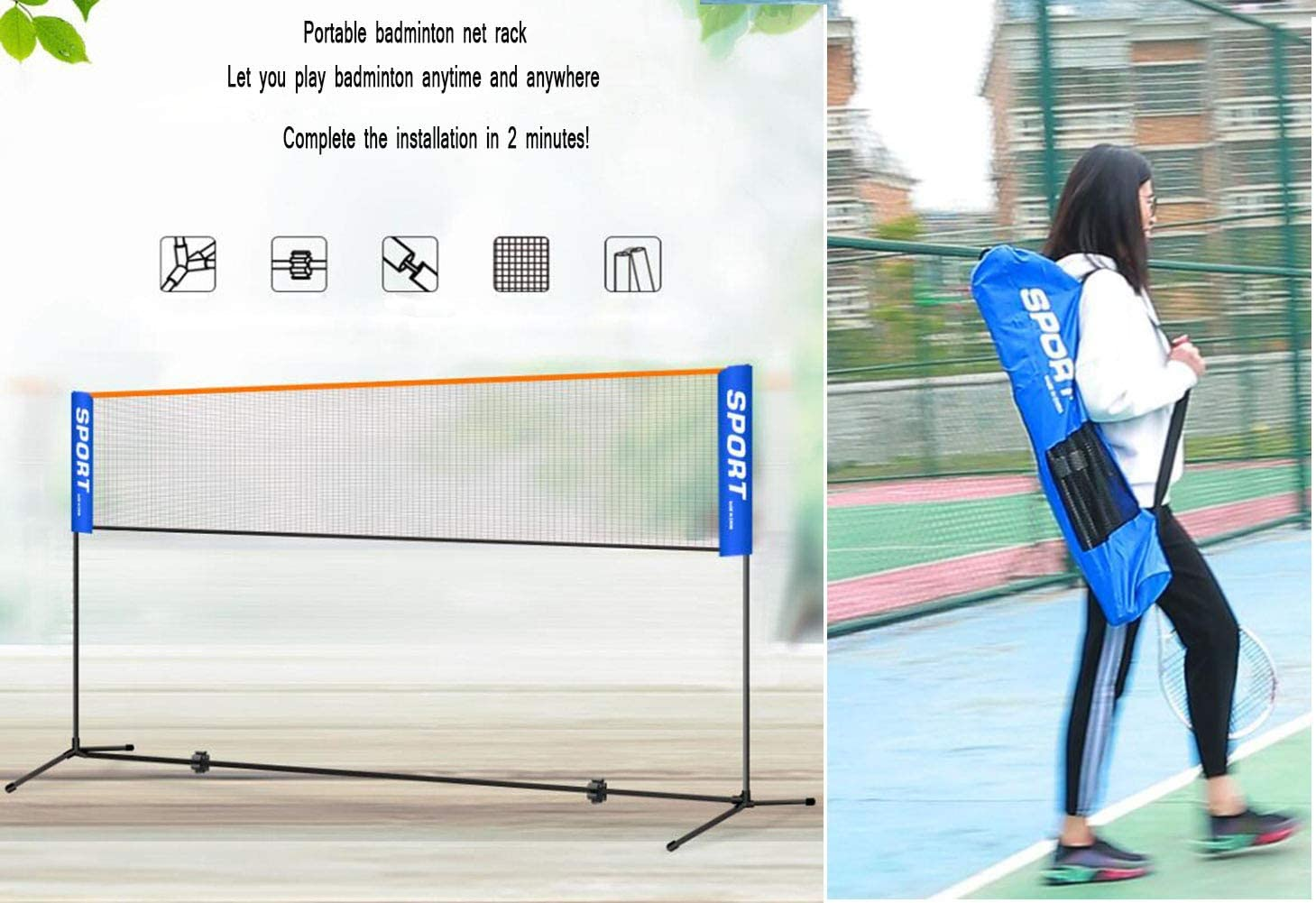 free-standing leisure net for badminton width 3m street tennis and other sports continuously height-adjustable from 0.75m to 1.55m CHUANGXIE Tennis net//net set combi