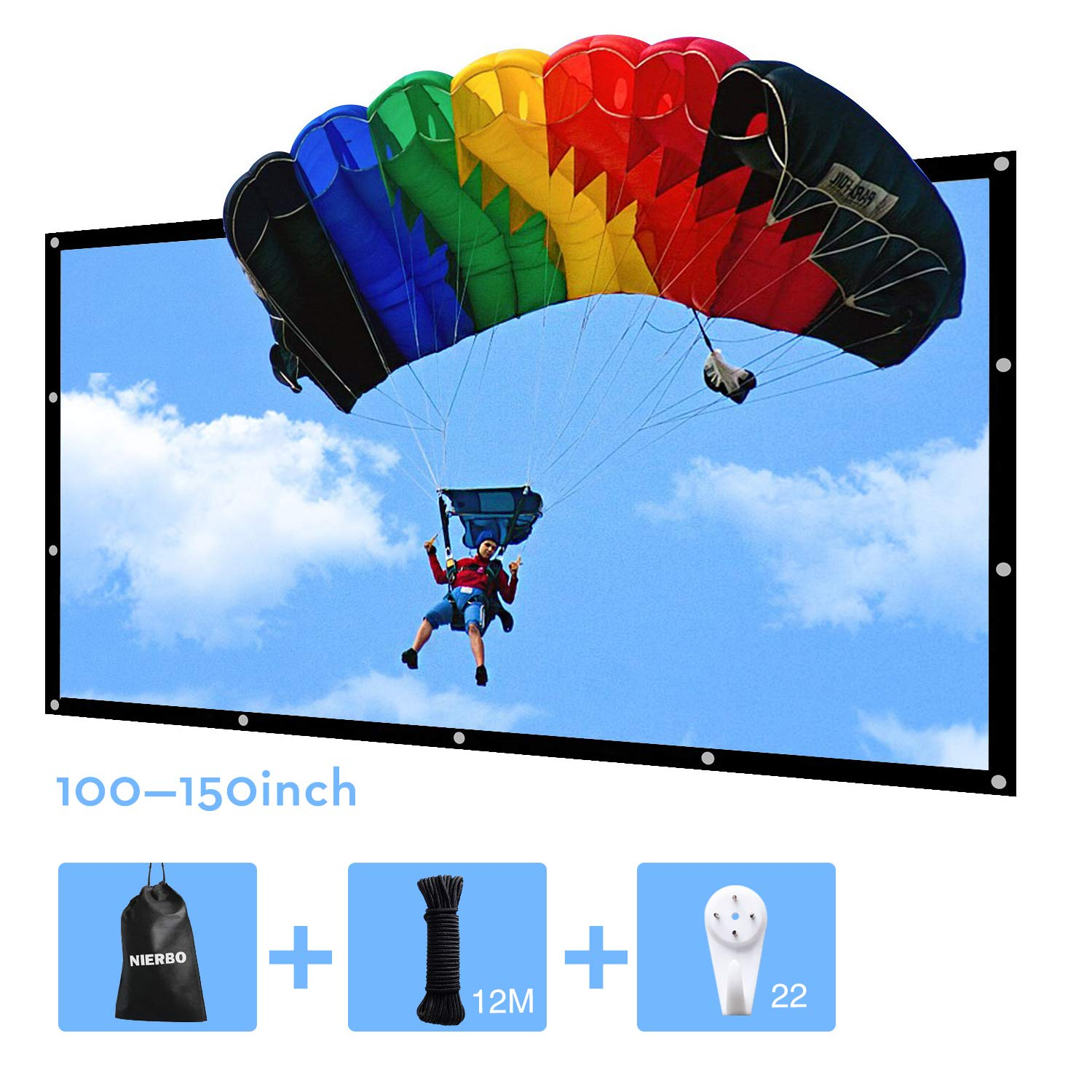 150 inch Portable Projector Screen Outdoor Movie Screen for Projection Double Sided for Home Theater No Wrinkles with 22 Traceless Nails and One Rope