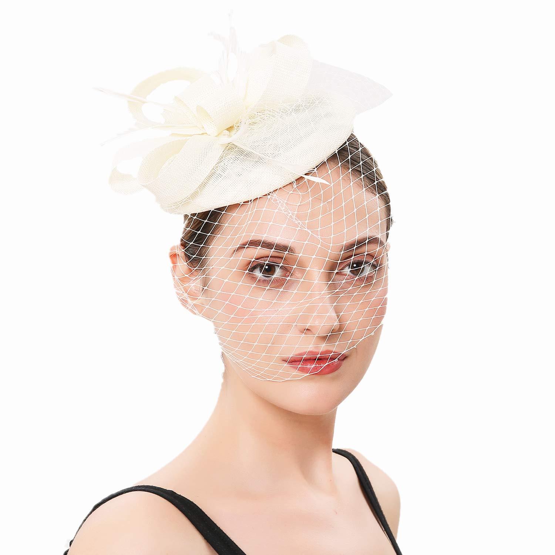 Forbeautiful Womens 1920s Veil Flower Kentucky Derby Fascinator Feather Mesh Net Headpiece Tea Party Headwear Black