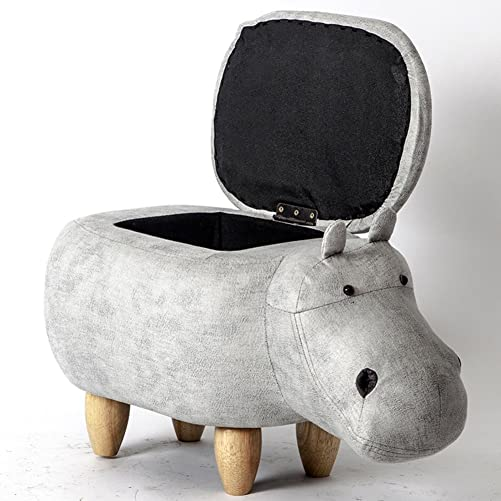 Visual taste Dreamer Creative Footstool Storage Ottoman upholstered Ride-on Stool Changing Shoes Solid Wood Hippo Modeling Decorative Furniture-G 65x35x37cm 26x14x15inch