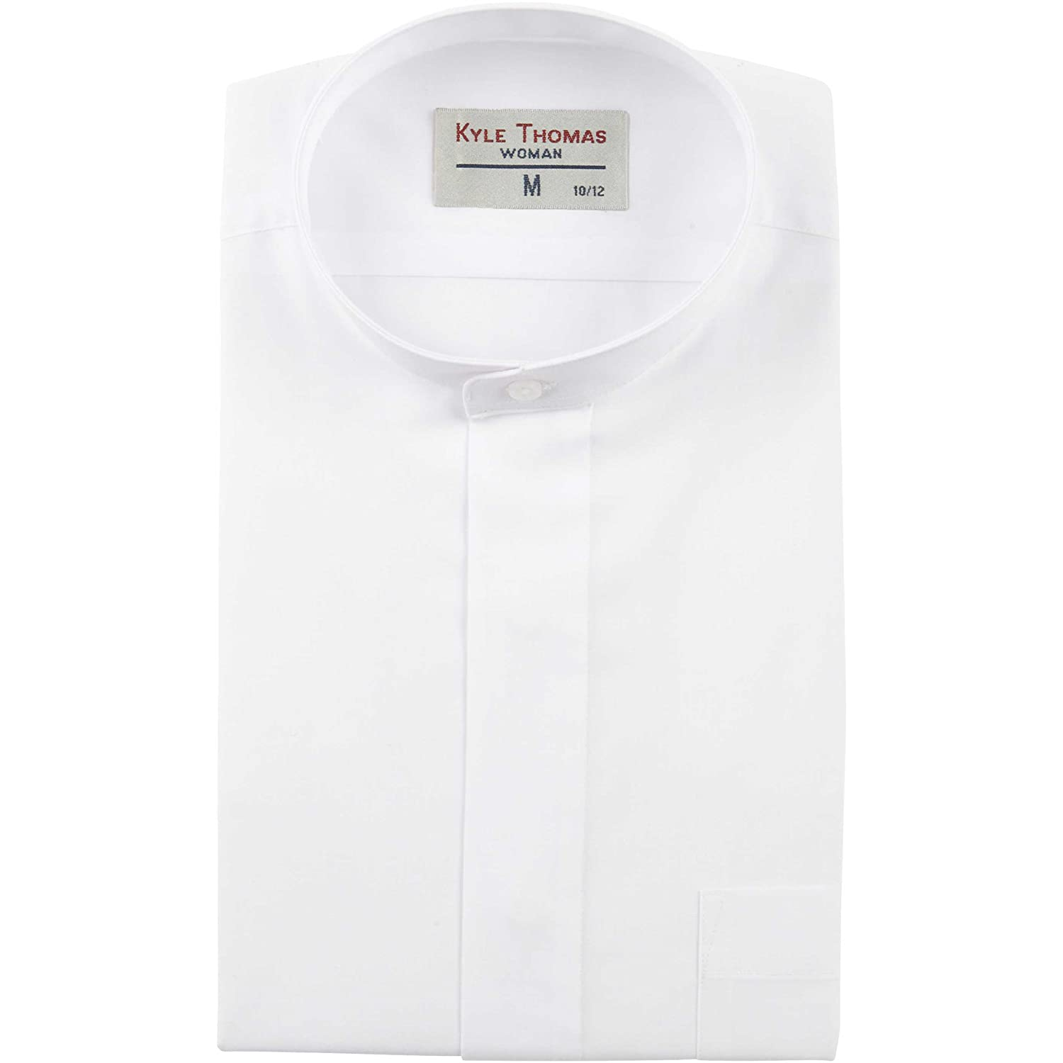 Womens White Banded Collar Shirt