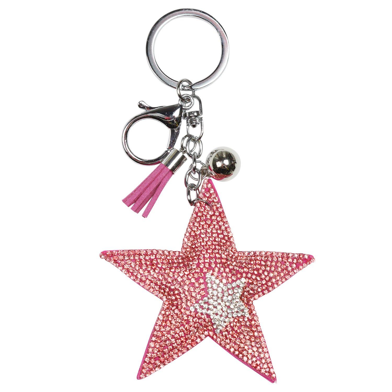 Glamexx24 llavero de cristal (Diseño de Estrella llavero con ...