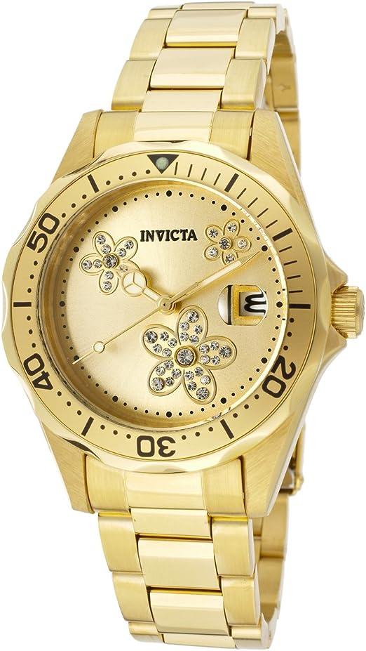Invicta Reloj De 12508 Pro Diver Dial Oro Tono Acero Inoxidable Bañada En Oro De 18 Quilates Para Mujer Invicta Watches