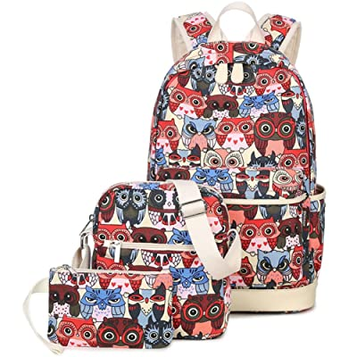 9ffd5c423ff BLOOMSTAR Casual Lightweight Canvas School Backpack Cute Owl Laptop  Shoulder Messenger Bag Pencil Case 3 in