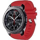 AMERTEER SAMSUNG Gear S3 Frontier / Classic Watch Band, バンド ベルト スポーツバンド シリコン製 高級感 シリコーン 交換ベルト(Red)