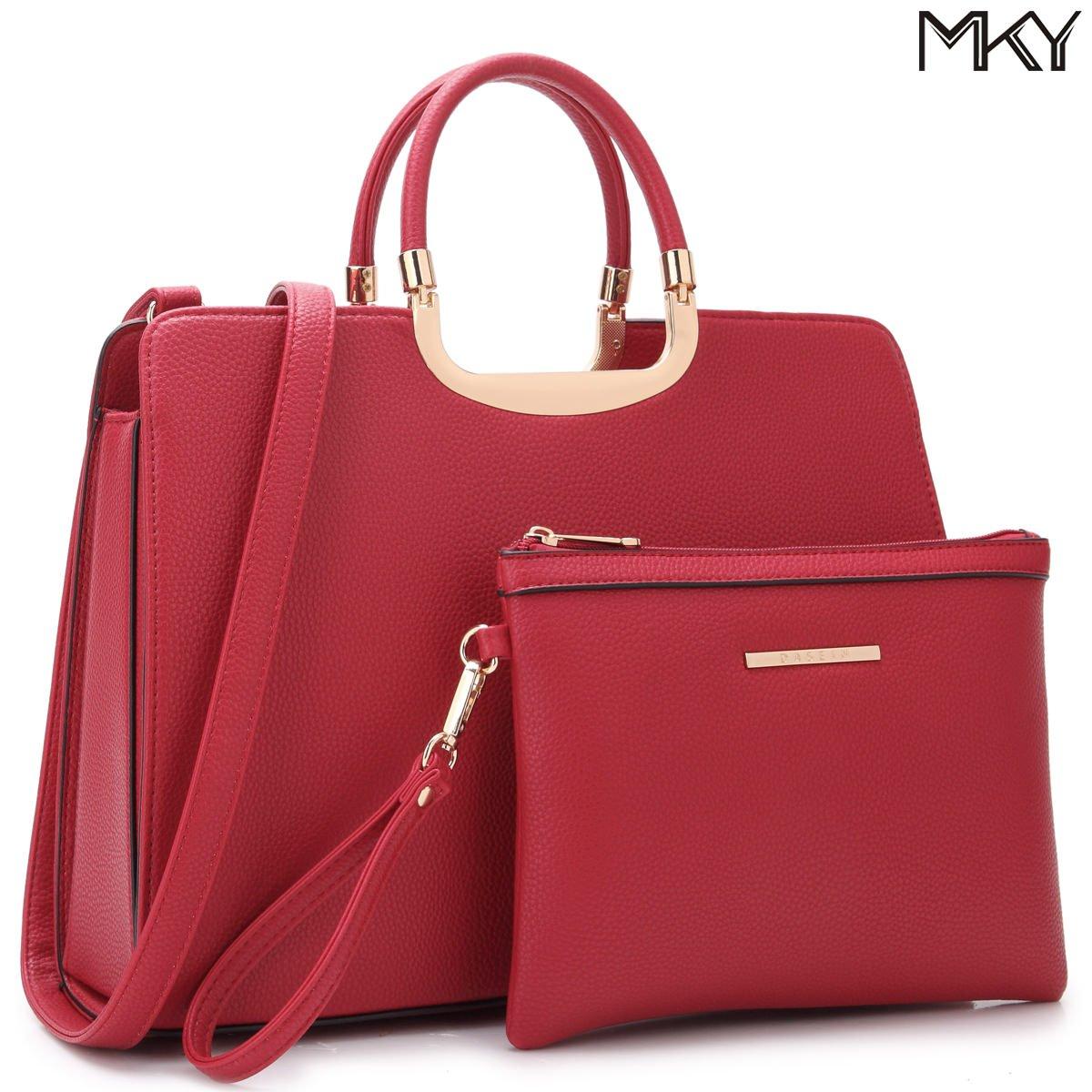 Large Leather Satchel Handbag Designer Purse Wallet Set Shoulder Bag Red