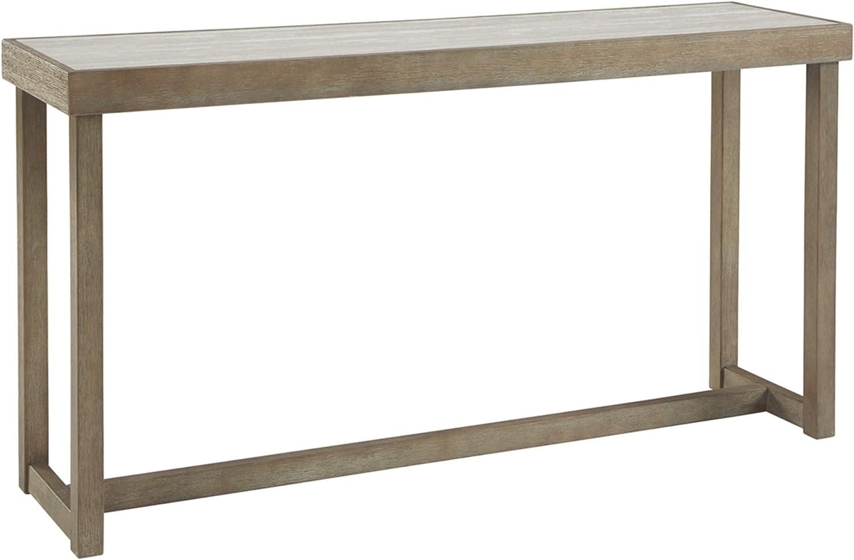 Signature Design by Ashley Challene Contemporary Sofa Table, Light Gray