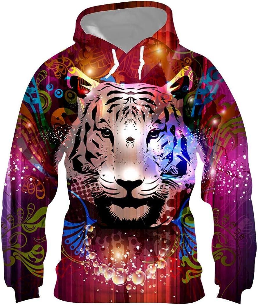 DDSZTD Splendid Tiger Mens Hoodie Graphic 3D Printed Fashion Pullover Long Sleeve Sweatshirt with Pocket S