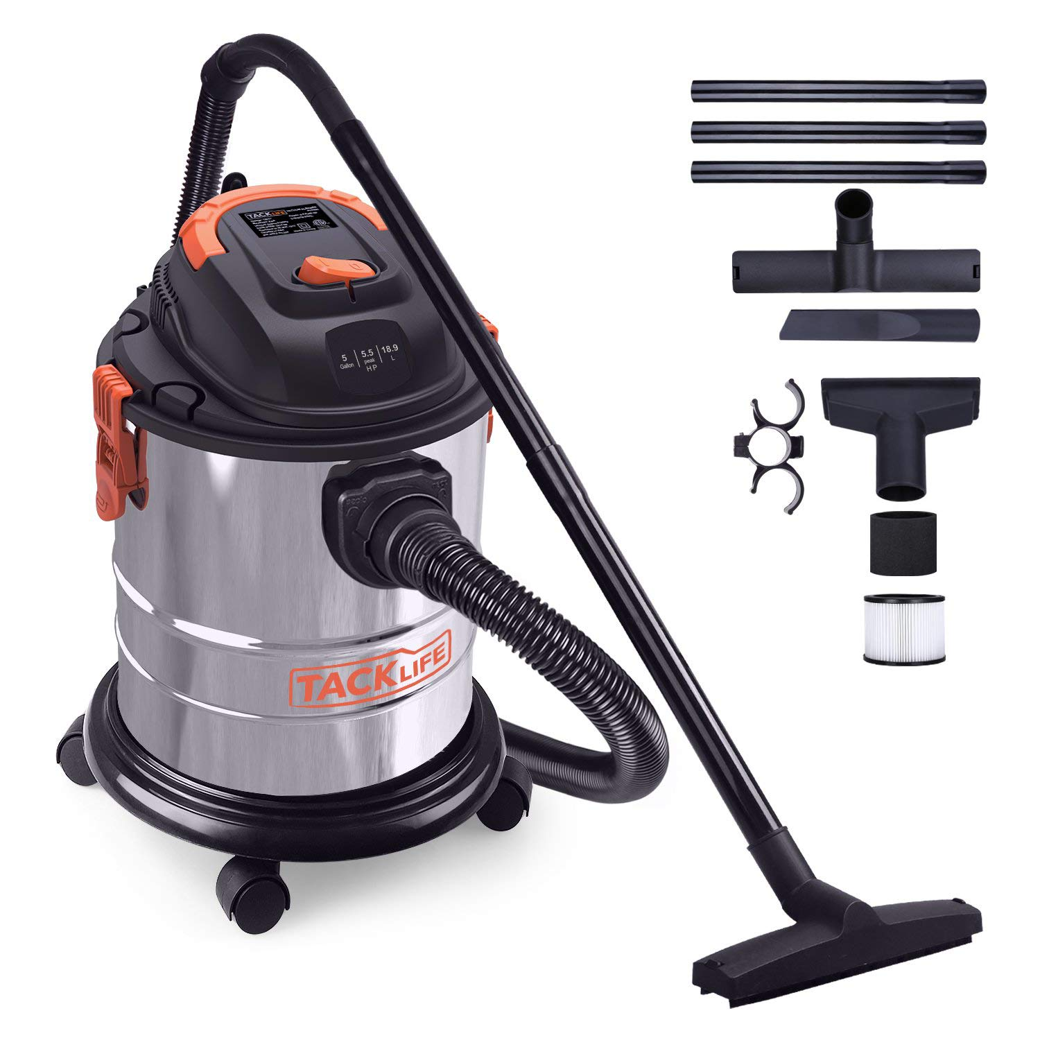 Wet Dry Vacuum, TACKLIFE 5 Gallon 5.5 Peak HP Shop Vacuum, 1000W Pure Copper Motor, Stainless Steel Wet/Dry/Blow 3 in 1 Multifunction, 4-Layer Filtration System,Portable Shop Vac with Attachments by TACKLIFE