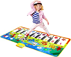 "M SANMERSEN Music Mat for Kids, Kids Piano Mat Touch Play Blanket Keyboard Playmat 53"" x 23"" Musical Mats with Animal Sounds Educational Dance Mat Musical Toys for Boys Girls Kids"