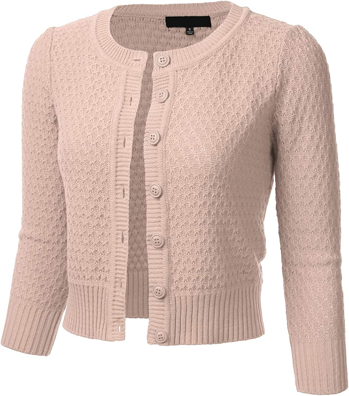FLORIA Women's Button Down 3/4 Sleeve Crew Neck Cotton Knit Cropped Cardigan Sweater (S-3X)