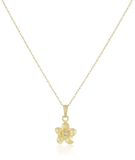 14k yellow gold flower pendant necklace with genuine diamond