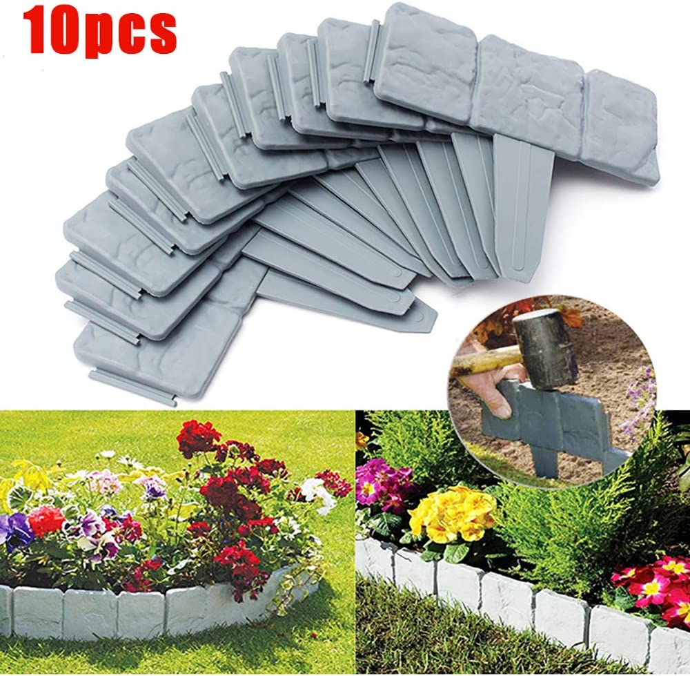 GTWIN Grey Stone Effect Lawn Edging Garden Plant Bordering Edging Palisade Border Picket Fence for Flower Bed Grass 10 Pieces