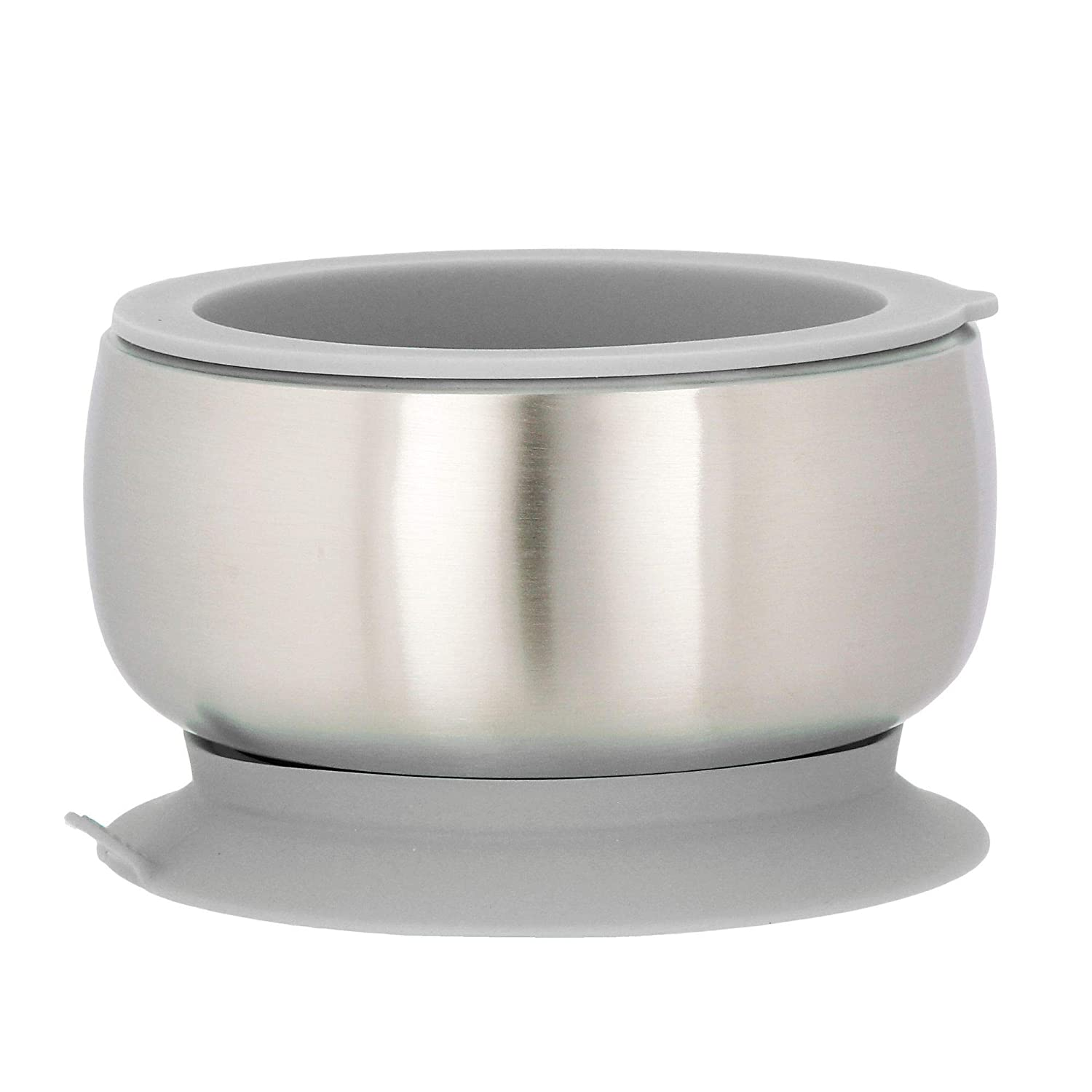Avanchy Stainless Steel Suction Baby Bowl - Stainless Steel Kids Bowls - Suction Bowls with Lids - Suction Bowl BPA Free - Stay Put Bowl (Gray)