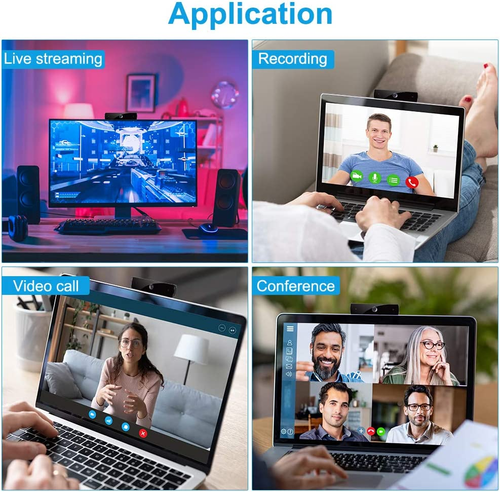 Webcam with Microphone,HD 1080P Webcam USB Computer Camera for Live Streaming Webcam,110 Degrees Wide-Angle 30fps for Laptop Video Chatting Desktop Conferencing