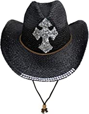 Straw Cowboy Hat with Sequin Cross