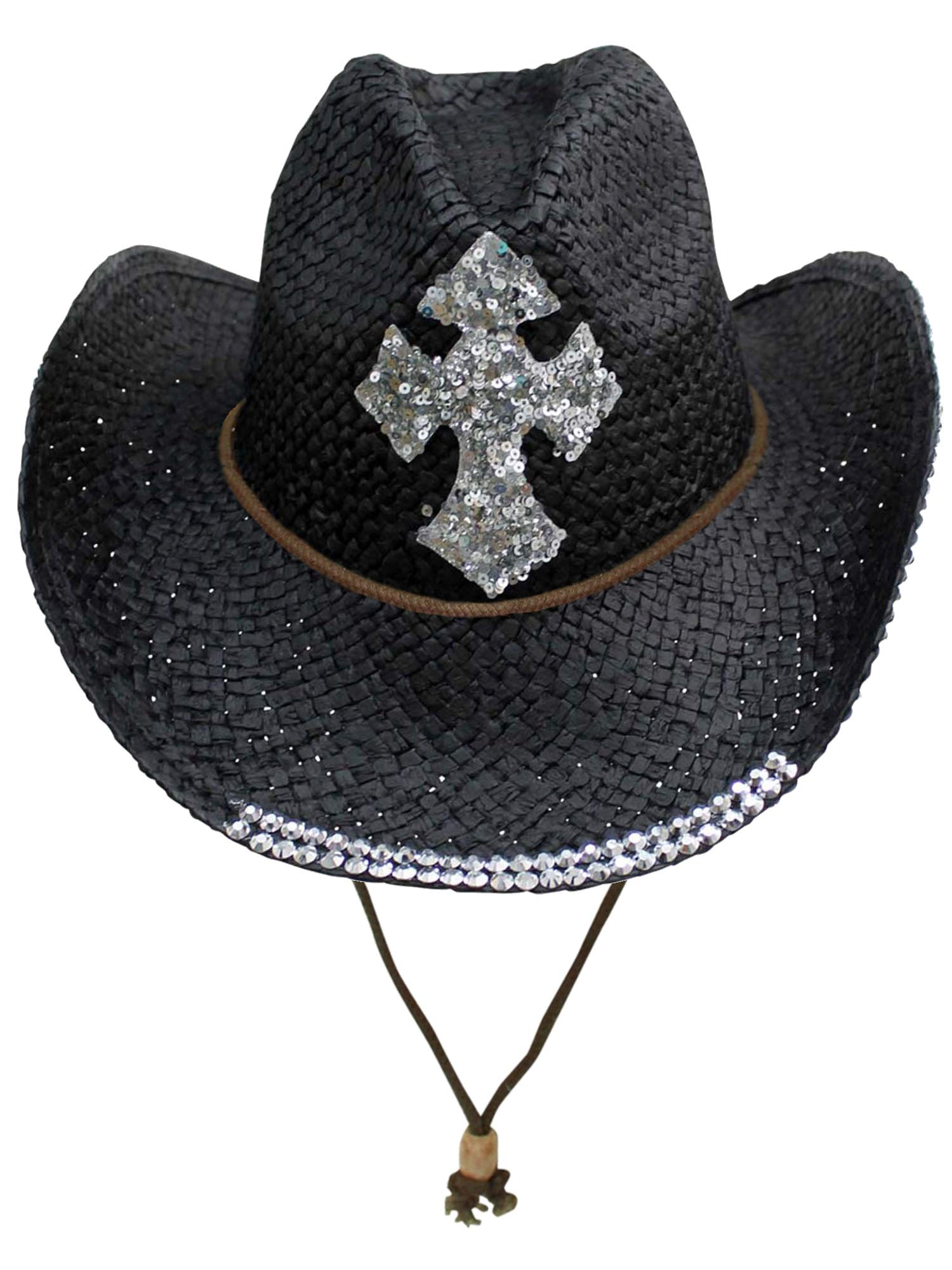 Black Straw Cowboy Hat with Sequin Cross