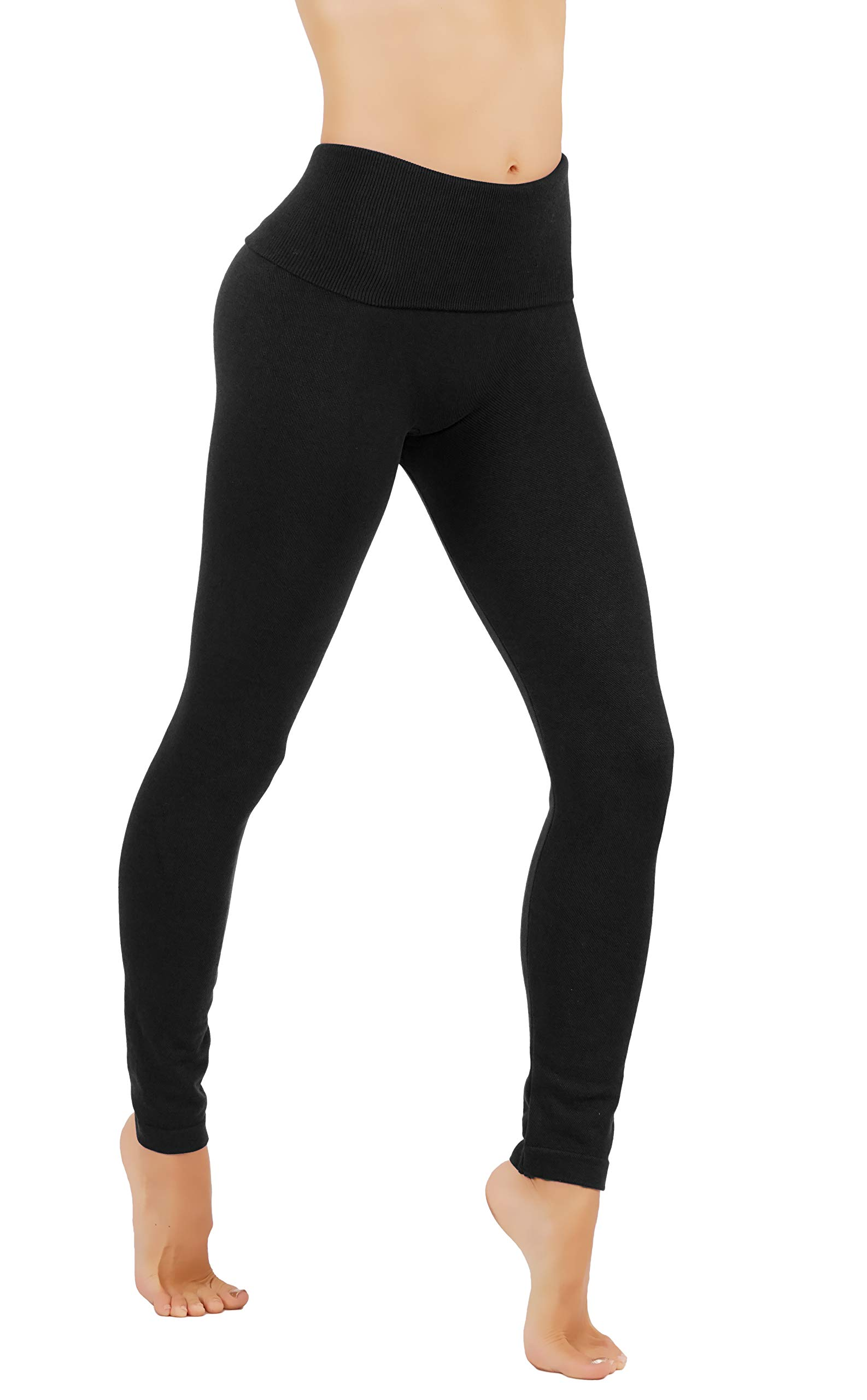 Premium Tummy Control High Waist Slimming Thick Fleece/French Terry (L/XL US Size 8-14, FD48-BLK) by Fit Division (Image #3)