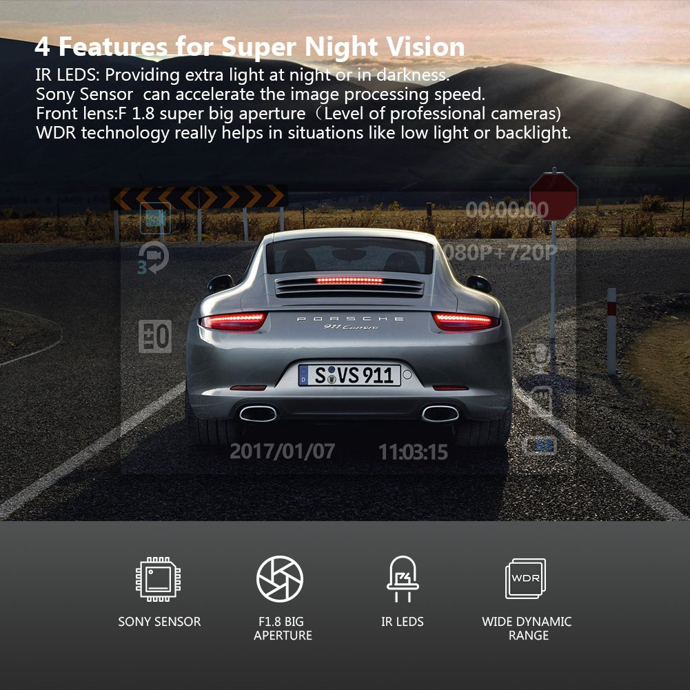 Uber Dual Lens Dash Cam Built-in GPS in Car Dashboard Camera Crosstour 1080P Front and 720P Inside with Parking Monitoring, Infrared Night Vision, Motion Detection, G-Sensor and WDR by Crosstour (Image #5)