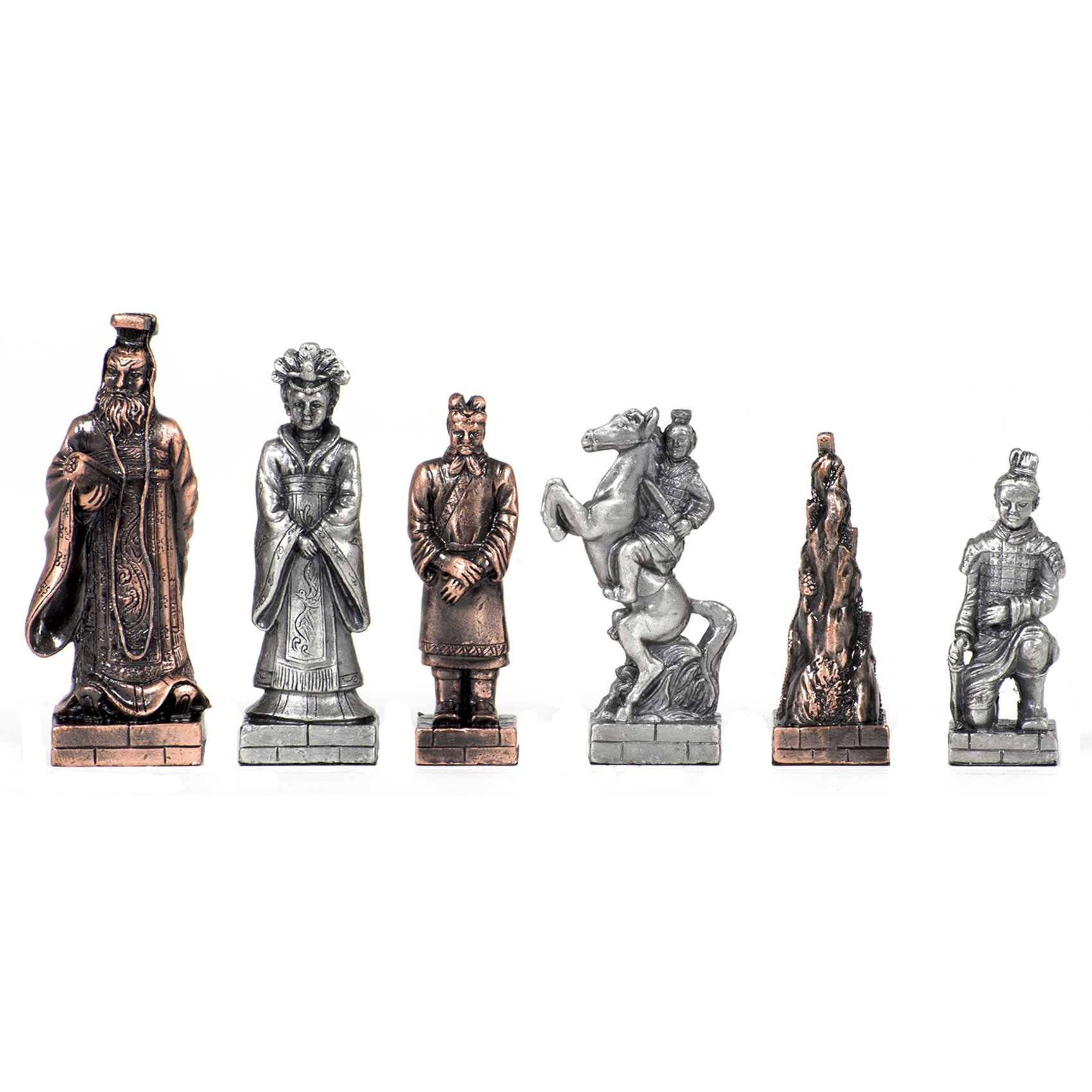 Wood Expressions WE Games Chinese Qin Chessmen - Pewter