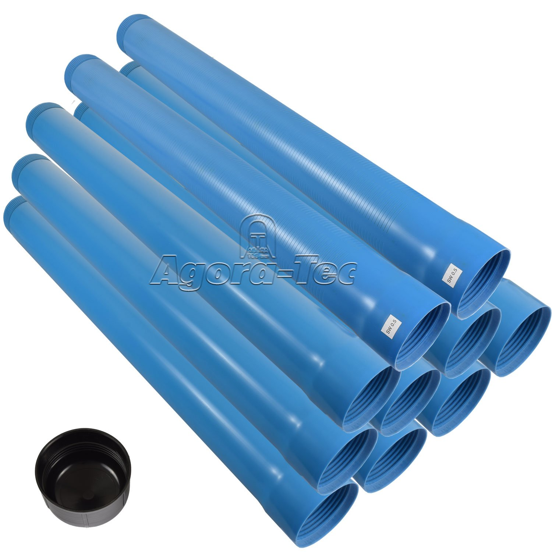 Set Endkappe und 2 Meter Filterrohr mit einer mit 8 Meter Vollwandrohr Agora-Tec/® 4 Zoll DN 100 Brunnenrohr Schlitzweite: 0.5mm 10 Meter