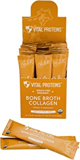 product image for Vital Proteins Organic, Grass-Fed Beef Bone Broth Collagen Stick Packs (10g) (Box of 20)