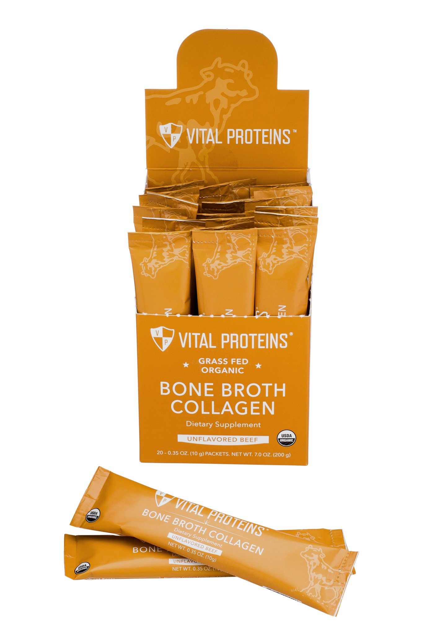 Vital Proteins Organic, Grass-Fed Beef Bone Broth Collagen Stick Packs (10g) (Box of 20) by Vital Proteins