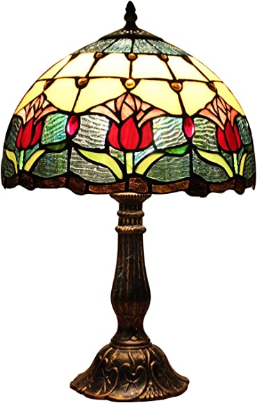 Bieye L10639 Tulip Flower Tiffany Style Stained Glass Table Lamp Night Light