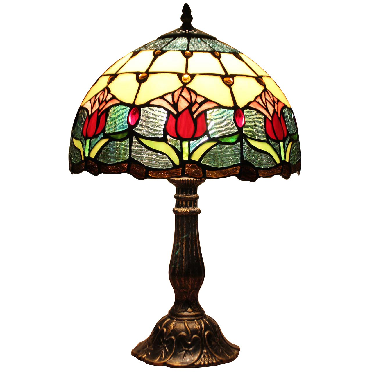 Bieye L10639 Tulip Flower Tiffany Style Stained Glass Table Lamp Night Light with 12 inches Wide Lampshade Metal Base for Bedside Bedroom Living Room, 18 inches Tall