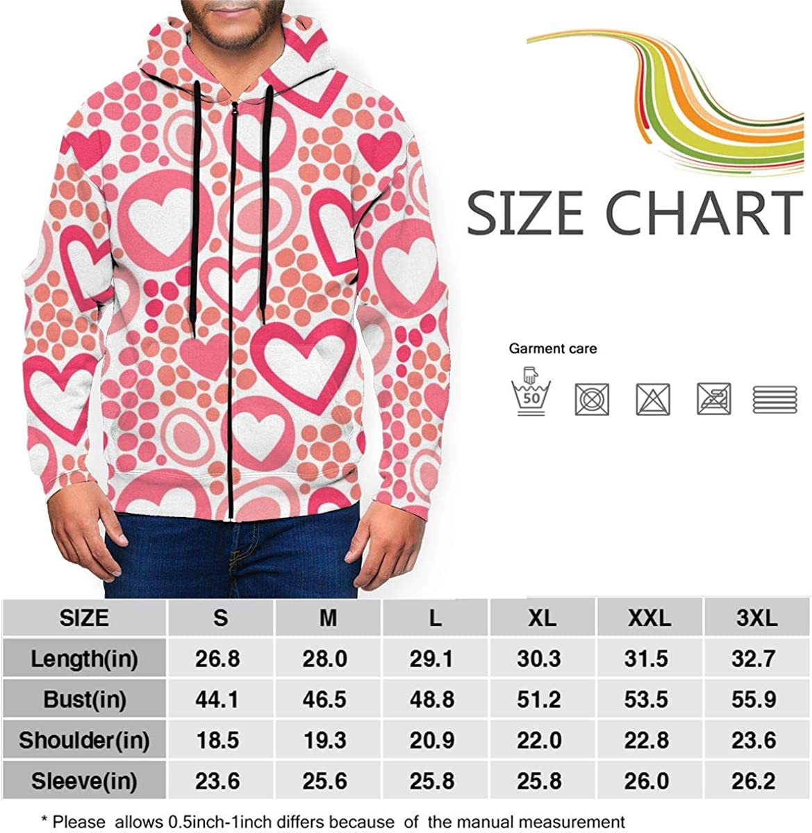 Lucaeat Hearts and Dots in Coral Color Mens Big Zip Front Sweatshirt Hoodie
