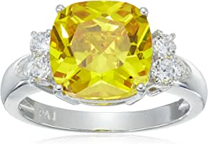 Platinum Plated Sterling Silver Canary Yellow Cushion Cut 10mm Cubic Zirconia Ring