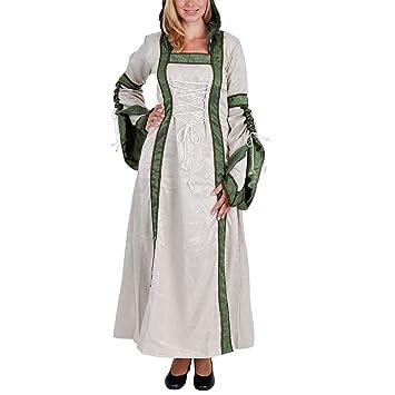 Vestido medieval Ariane - mujer - traje de la Edad Media con capucha - blanco natural