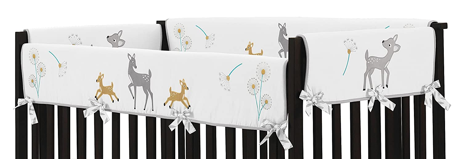 Grey Gold and White Forest Deer and Dandelion Long Front Rail Guard Baby Teething Cover Crib Protector Wrap Sweet Jojo Designs B01JMQOJT0
