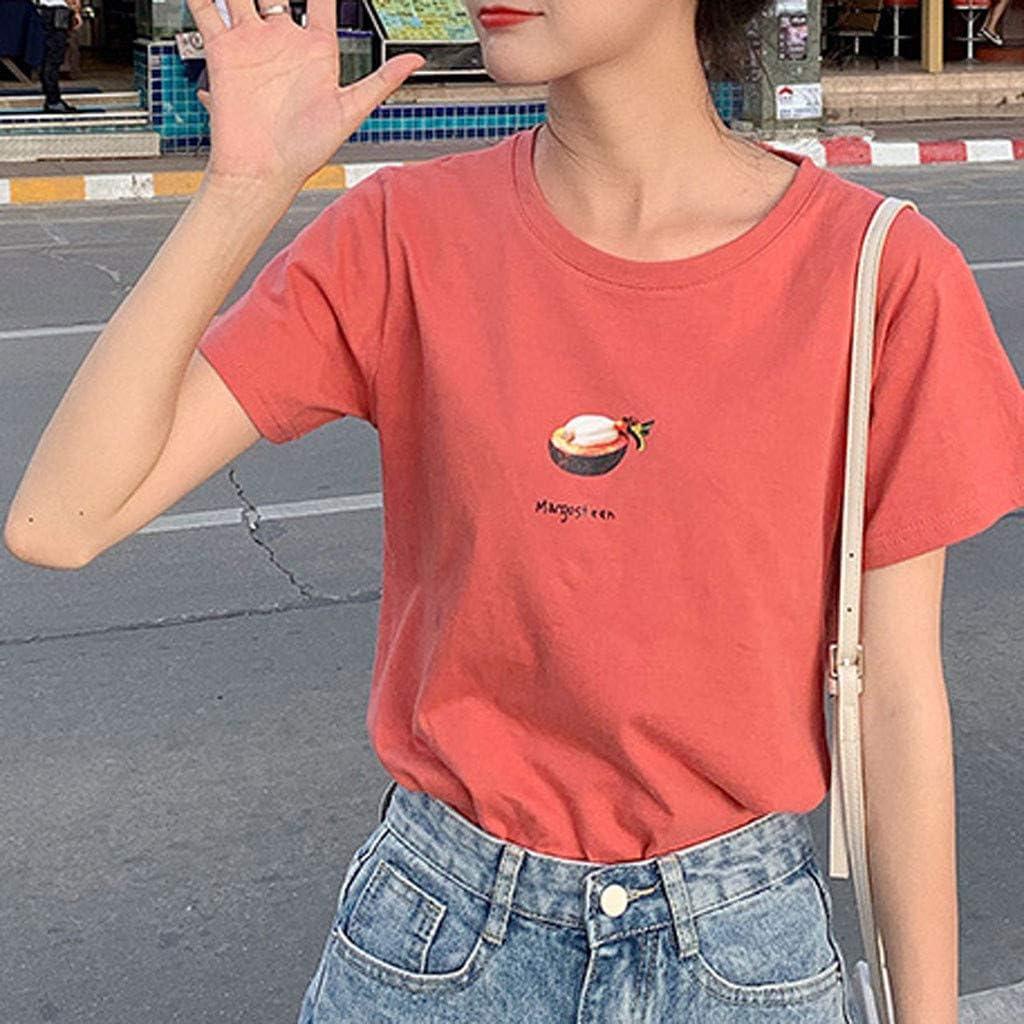 SERYU Fashion Women's Casual O-Neck Short Sleeve Blouse Fun Print Blouse A Red