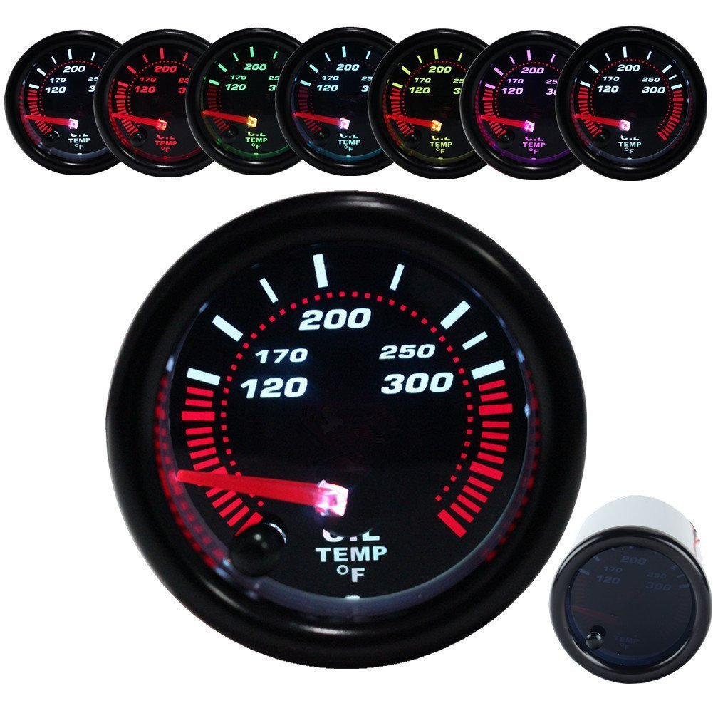 Dewhel Oil temp temperature Gauge Universal Meter 7-Colors LED Smoke 52mm 12V 120-300 ° F W/ Sensor