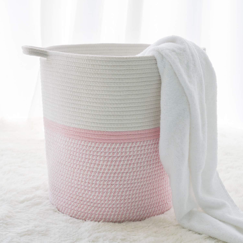 INDRESSME Cotton Rope Basket Pink for Baby Nursery Room   Cute Kids Laundry  Hamper   Blanket Basket, Toy Chest Soft, Bottom   Woven Basket