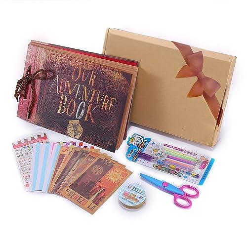 Our Adventure Book Pixar Up Handmade DIY Family Scrapbook, Wedding Photo Album, Retro Album, Anniversary Scrapbook, Travel Album, Child's Album,with Bonus Gift Box