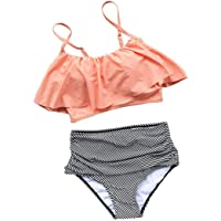 BLZ Bikini Vita Alta Mare Push Up Sopra Puro Rosa Falbala Sotto a Righe Costumi da Bagno Donna Due Pezzi Imbottito Sexy