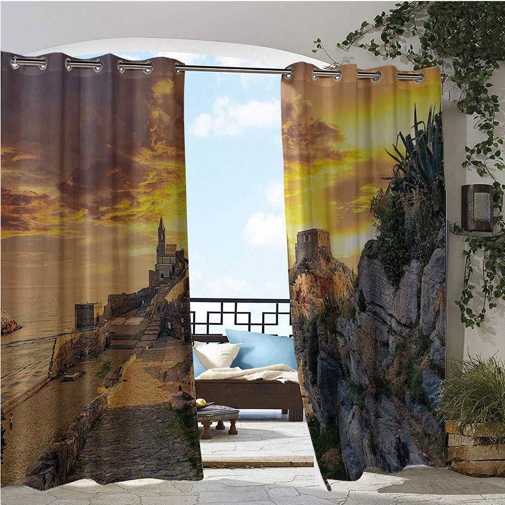 GUUVOR Cortinas de balcón, diseño de Mago Medieval, con Estampado gótico de la Vieja Historia, Resistente al Agua, con Ojales, Color Crema, Azul y Amarillo: Amazon.es: Jardín