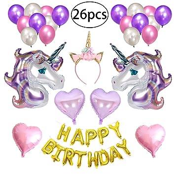NUOLUX 26Pcs Globos Feliz Cumpleaños Set - Unicorn Foil ...