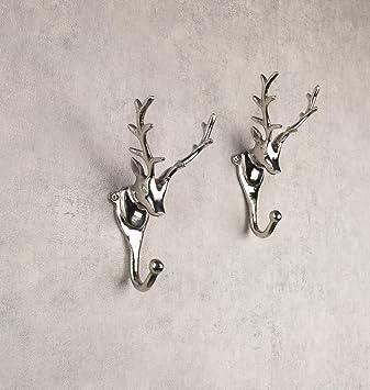 Wanddekoration Hirschkopf Wand-Deko Hirsch Geweih Wandfigur Skulptur Mango-Holz